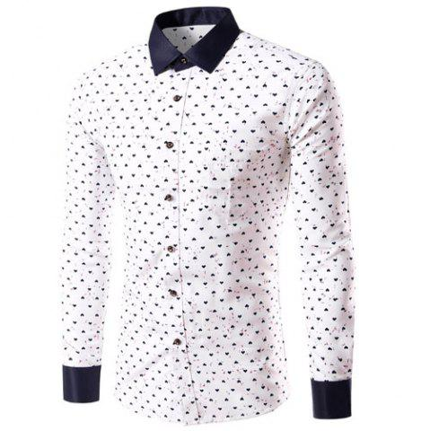 Hot Turn-Down Collar Heart Print Long Sleeve Shirt For Men