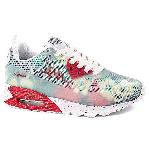 Online Stylish Colour Matching and Lace-Up Design Athletic Shoes For Women - 36 WHITE Mobile
