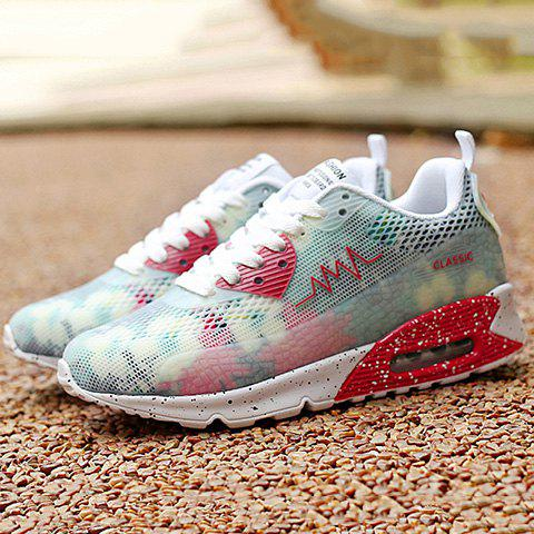 Online Stylish Colour Matching and Lace-Up Design Athletic Shoes For Women - 40 WHITE Mobile