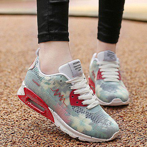 Buy Stylish Colour Matching and Lace-Up Design Athletic Shoes For Women - 40 WHITE Mobile