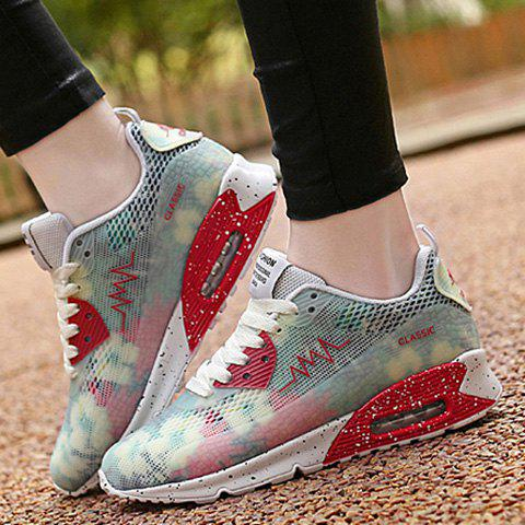 Unique Stylish Colour Matching and Lace-Up Design Athletic Shoes For Women - 40 WHITE Mobile