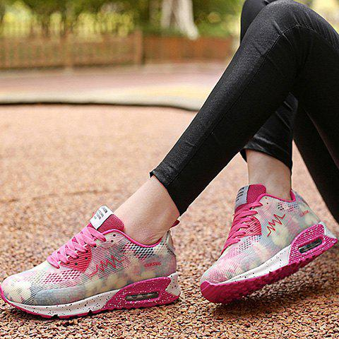 Sale Stylish Colour Matching and Lace-Up Design Athletic Shoes For Women - 39 ROSE Mobile