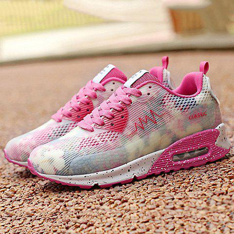 Chic Stylish Colour Matching and Lace-Up Design Athletic Shoes For Women - 39 ROSE Mobile