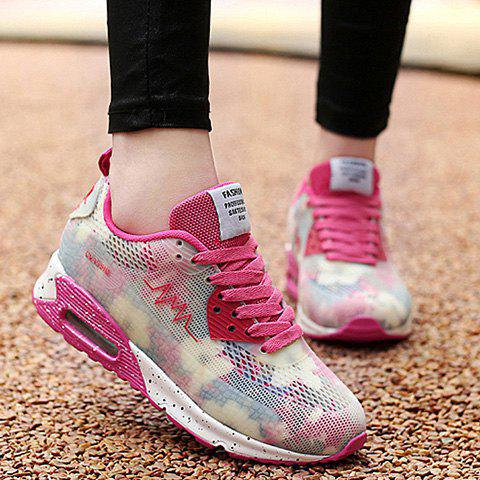 Shops Stylish Colour Matching and Lace-Up Design Athletic Shoes For Women - 39 ROSE Mobile