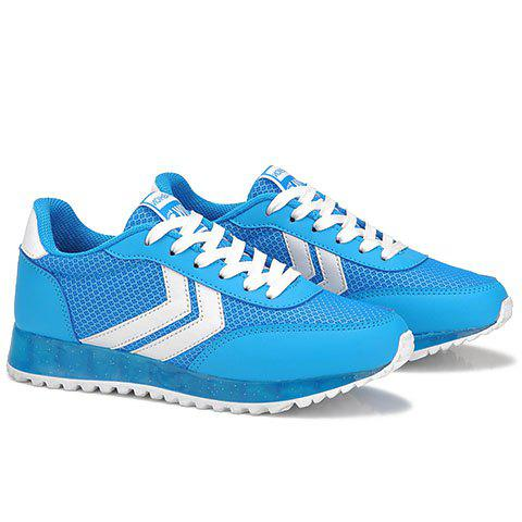 Chic Casual Splicing and Lace-Up Design Athletic Shoes For Women - 38 BLUE AND WHITE Mobile