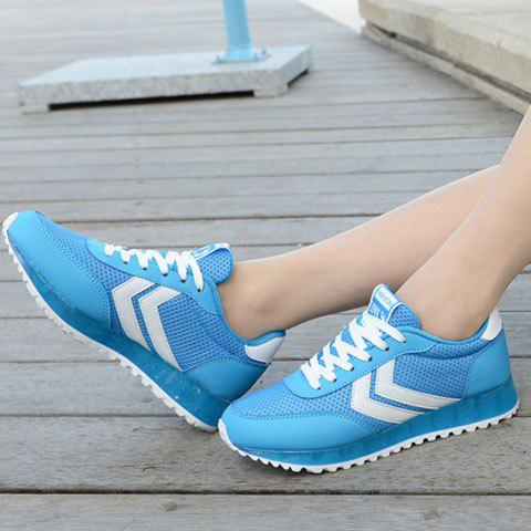 Sale Casual Splicing and Lace-Up Design Athletic Shoes For Women - 38 BLUE AND WHITE Mobile
