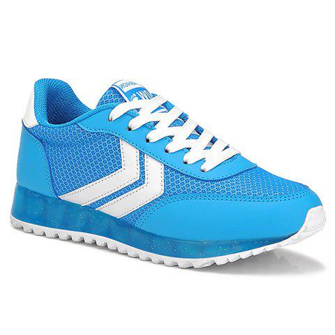 Cheap Casual Splicing and Lace-Up Design Athletic Shoes For Women BLUE/WHITE 38