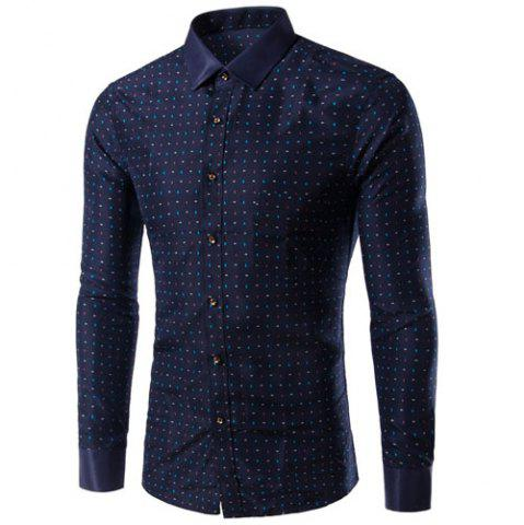Outfits Turn-Down Collar Colorful Polka Dot Print Long Sleeve Shirt For Men