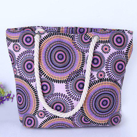 Hot Casual Multicolor and Circle Pattern Design Shoulder Bag For Women - PURPLE  Mobile