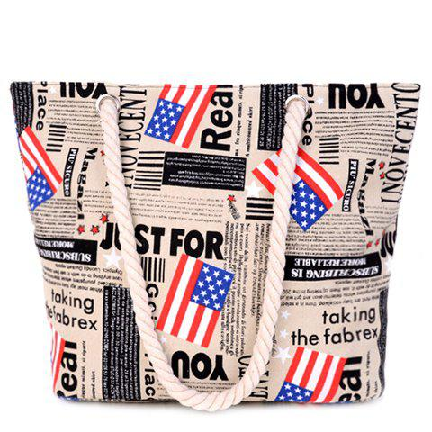 Unique Casual American Flag and Canvas Design Shoulder Bag For Women LIGHT KHAKI