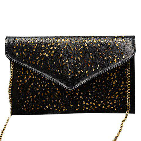 Store Stylish Candy Color and Engraving Design Shoulder Bag For Women BLACK