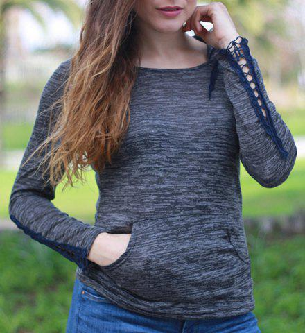Fashionable Hollow Out Skinny Long Sleeve Hoodie For Women - Black - Xl