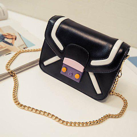 Affordable Trendy Cover and Color Block Design Crossbody Bag For Women - BLACK  Mobile