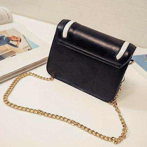 New Trendy Cover and Color Block Design Crossbody Bag For Women - BLACK  Mobile