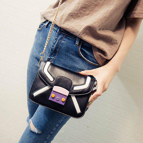 Discount Trendy Cover and Color Block Design Crossbody Bag For Women - BLACK  Mobile