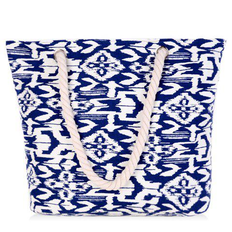 New Leisure Color Block and Geometric Pattern Design Shoulder Bag For Women - BLUE AND WHITE  Mobile