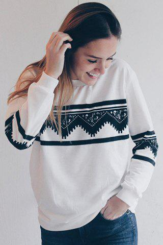Best Long Sleeve Chevron Graphic Sweatshirt - L WHITE Mobile