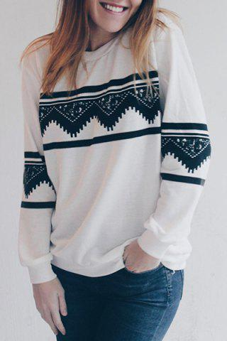 Shop Long Sleeve Chevron Graphic Sweatshirt WHITE L