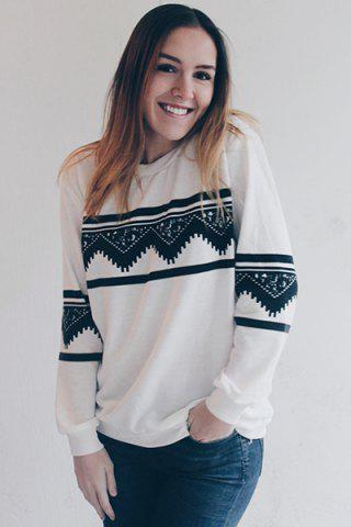 Unique Long Sleeve Chevron Graphic Sweatshirt - L WHITE Mobile