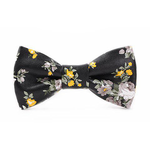 Cheap Stylish White and Yellow Flowers Pattern Black PU Bow Tie For Men