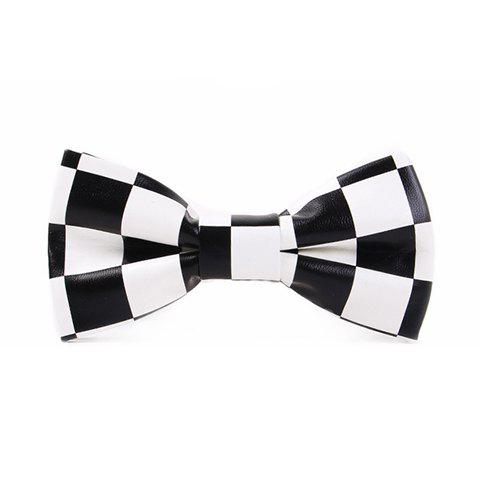 Trendy Stylish Checked Pattern Black and White PU Bow Tie For Men - WHITE AND BLACK  Mobile