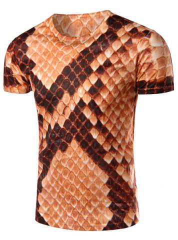 New 3D Snakeskin Printed Round Neck Short Sleeve T-Shirt For Men COLORMIX L