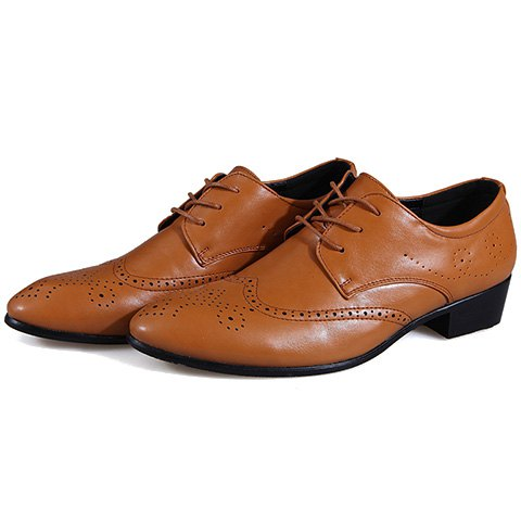 Discount Trendy Wingtip and Lace Up Design Formal Shoes For Men - 42 BROWN Mobile