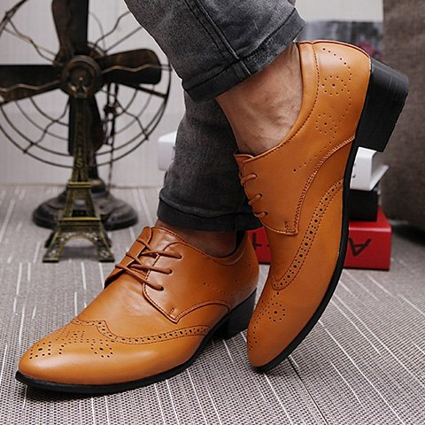 Chic Trendy Wingtip and Lace Up Design Formal Shoes For Men - 42 BROWN Mobile