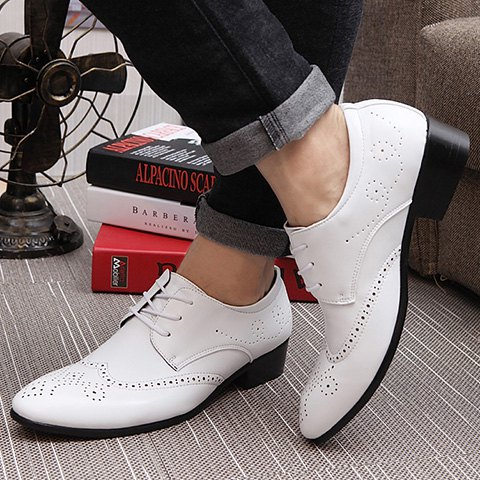 Hot Trendy Wingtip and Lace Up Design Formal Shoes For Men - 40 WHITE Mobile