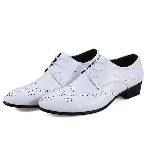 Online Trendy Wingtip and Lace Up Design Formal Shoes For Men - 41 WHITE Mobile
