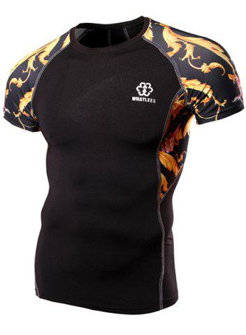 Skinny Round Neck Dragon Print Stripes Short Sleeves Quick-Dry T-Shirt For Men - Black - M
