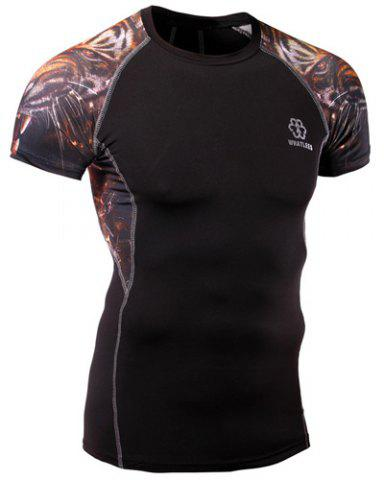 Outfit 3D Tiger Print Stripes Round Neck Short Sleeves Sweat Dry Tight T-Shirt For Men BLACK M