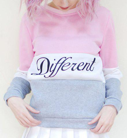 Cheap Preppy Style Round Neck Color Block Letter Print Long Sleeve Flocking Sweatshirt For Women
