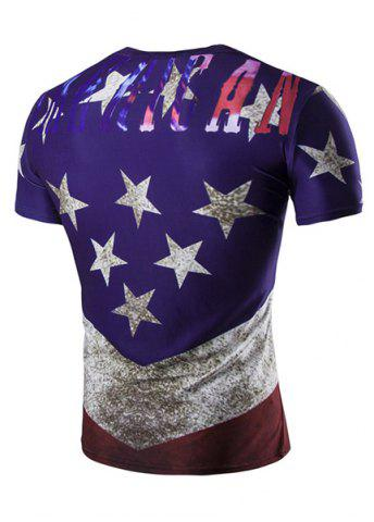 Online 3D Stars Printed Round Neck Short Sleeve T-Shirt For Men - XL COLORMIX Mobile