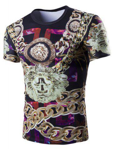 Discount Casual 3D Chain Printed Short Sleeves Round Neck T-Shirt For Men
