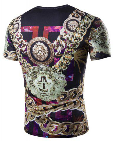 Outfits Casual 3D Chain Printed Short Sleeves Round Neck T-Shirt For Men - XL COLORMIX Mobile