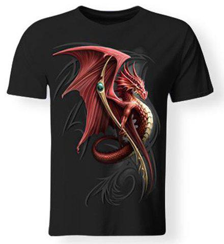 Store Hot Sale 3D Firedragon Print Round Neck Short Sleeves Black T-Shirt For Men