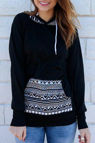 Buy Chic Hooded Long Sleeve Geometric Print Women's Hoodie BLACK S