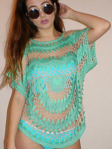 Affordable Sexy Jewel Neck Openwork Dolman Sleeve Bikini Cover-Up For Women - ONE SIZE(FIT SIZE XS TO M) GREEN Mobile