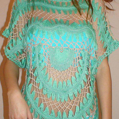Trendy Sexy Jewel Neck Openwork Dolman Sleeve Bikini Cover-Up For Women - ONE SIZE(FIT SIZE XS TO M) GREEN Mobile