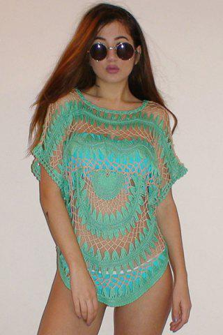 Chic Sexy Jewel Neck Openwork Dolman Sleeve Bikini Cover-Up For Women - ONE SIZE(FIT SIZE XS TO M) GREEN Mobile