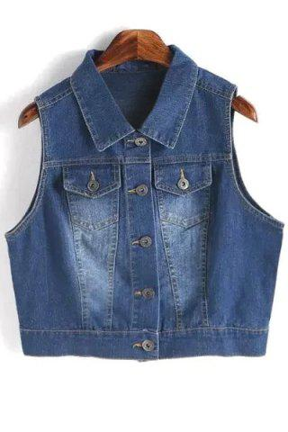 Buy Trendy Turn-Down Collar Metallic Button Bleach Wash Women's Denim Waistcoat
