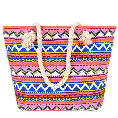 Outfits Casual Geometric Pattern and Canvas Design Beach Bag RED