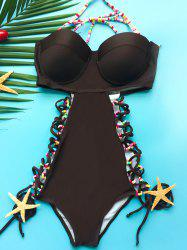 Stylish Halter Low-Cut Hollow Out One-Piece Swimwear For Women -