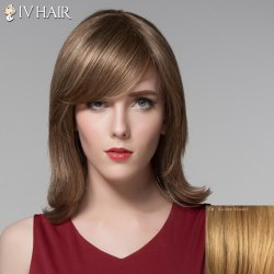 Elegant Straight Slightly Curled Capless Fashion Medium Side Bang Human Hair Wig For Women -