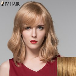 Human Hair Elegant Medium Side Bang Fluffy Wavy Capless Wig -
