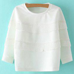 Sweet Round Neck Ruffles 3/4 Sleeve Sweatshirt For Women -