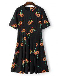 Brief Round Collar Sunflower Print Short Sleeve Midi Dress For Women -