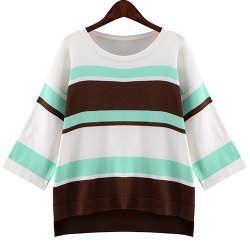 Refreshing Round Collar 3/4 Sleeve Striped High-Low Hem Loose Knitwear For Women -