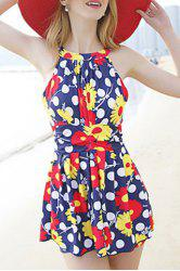 Trendy Floral Print Cut Out One-Piece Women's Swimwear
